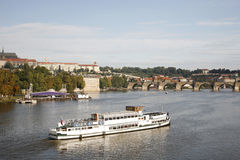 Tour Boat in Prague Stock Photography