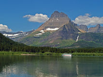 Tour Boat on Swiftcurrent Lake Royalty Free Stock Images