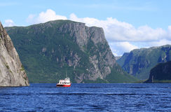 Tour Boat on Western Brook Pond Stock Images