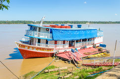 Tour boats on the banks of the Madeira River Royalty Free Stock Photos