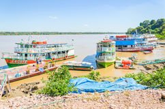Tour boats on the banks of the Madeira River Royalty Free Stock Photo