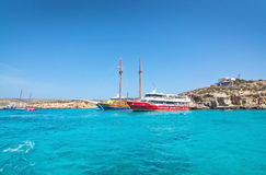 Tour boats Blue Lagoon Stock Image
