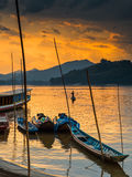 Tour boats in Mekong river, Luang Prabang Stock Photography