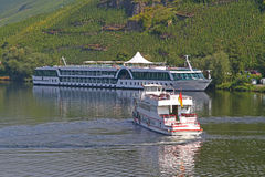 Tour boats on the Mosel river Stock Image
