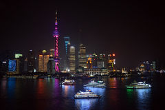 Tour boats in Shanghai at night Royalty Free Stock Photography