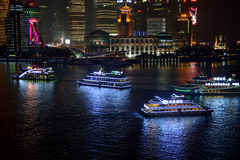 Tour boats in Shanghai at night Stock Photography