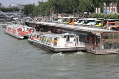 Tour Boats on Siene River in Paris Royalty Free Stock Images