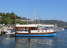 Tour Boats waiting customers at Kas port royalty free stock photography