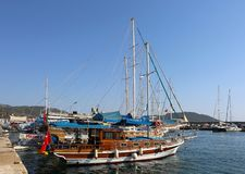 Tour Boats waiting customers at Kas port stock photo