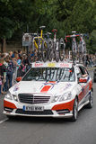 Tour of Britain. Reigate, England - September 16, 2012: A Team UKyouth support vehicle follows the cyclists on the Reigate to Guildford stage of the Tour of Royalty Free Stock Photography