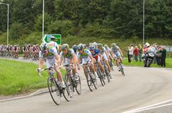Tour of Britain Cycle Race 2008 - Stage 4. TELFORD, UK - SEPTEMBER 10: Tour of Britain Cycle Race - Team Agritubel Lead the Chase Pack 2 mins Behind Leaders Royalty Free Stock Images