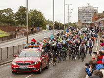 The 2013 Tour of Britain. The cyclists leave Carlisle, Cumbria in northern England at the start of stage 2 of the 2013 Tour of Britain Stock Image