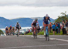 2016 Tour of Britain. Cyclists on Stage 2 of the Tour of Britain reach the summit of Chestnut Hill outside Keswick, Cumbria.  The race is a free public-event Stock Image