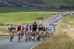 Tour of Britain Stage 2. Race leaders in the Peak District on the A53 between Longnor and Leek, between KOM2 (Hollinsclough Moor) and KOM3 (Gun Hill), with Stock Images