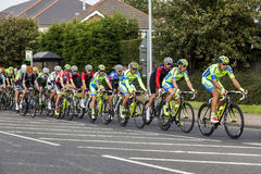 Tour of Britian Cycle Race 2016. Tour of Britian Cycle Race, 2016, passes through Bedlington, Northumberland, England, UK royalty free stock images