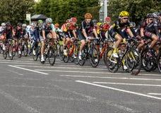 Tour of Britian Cycle Race 2016. Tour of Britian Cycle Race, 2016, passes through Bedlington, Northumberland, England, UK stock photos
