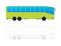 Tour bus. Detailed tour bus in colors and outlines against white background Stock Images