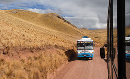 Tour bus along the Cusco-Puno Road, Peru. SACRED VALLEY OF THE INCAS, PERU - AUGUST 16, 2006: Tour bus running along the road following the Sacred Valley of the Royalty Free Stock Images