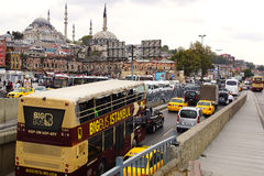 Tour bus in front of the New Mosque. Royalty Free Stock Image