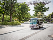 Tour bus at Gardens by the Bay,. Singapore Royalty Free Stock Photography