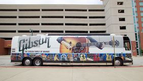 Tour Bus at the Gibson Guitar Factory Memphis, Tennessee. Gibson Guitar Corporation is an American maker of guitars and other instruments, now based in Nashville Royalty Free Stock Photo