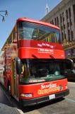 Tour bus in Hollywood Boulevard. Starline Citysightseeing Tour bus in Hollywood Boulevard, Los Angeles, California, USA Stock Photos