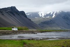 Tour bus on Iceland's Ring Road Royalty Free Stock Photos