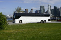 Vancouver Bus Tour. A tour bus is parked on a street at Stanley Park, Vancouver, British Columbia, Canada Stock Photography