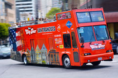Tour bus in San Francisco financial district, CA Stock Images