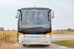 Tour bus staying outdoors Royalty Free Stock Images