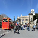 The tour bus on the streets in Barcelona. Stock Photo