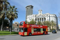 The tour bus on the streets in Barcelona, Spain Royalty Free Stock Photo