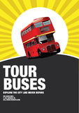 Tour buses. A collage with an eye-catching design for tour buses around the city Royalty Free Stock Photography