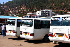 Tour buses in the Kigali, Rwanda bus station. Tour buses waiting in the Kigali, Rwanda bus station royalty free stock photos