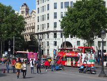 Tour Buses, Placa de Catalunya, Barcelona Royalty Free Stock Image