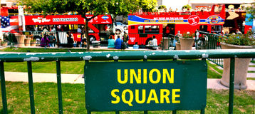 Tour Buses in Union Square in San Francisco, CA Royalty Free Stock Images