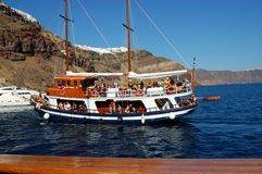 Tour of the Caldera of the Santorini volcano Royalty Free Stock Images