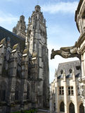 Tour cathedral. France. Towers. Gargoyle Royalty Free Stock Photography