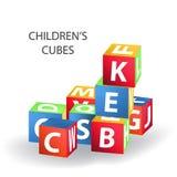 Tour color?e lumineuse de b?timent de briques Illustration de vecteur de bloc sur le fond blanc Cubes avec des lettres illustration de vecteur