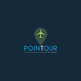 Tour company logos created from green navigation and airplane vector design Royalty Free Stock Photos