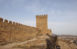Tour consulaire de forteresse Genoese en péninsule de la Crimée Images libres de droits