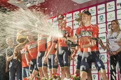 Tour of Croatia race Bahrain Meirida winning team. The international men`s cycling race Tour of Croatia took place for the fourth consecutive year, from April 17 royalty free stock photos