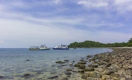 Tour cruiser anchor near the island Stock Image