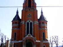 Tour d'église construite avec la brique Images libres de droits