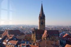 Tour d'église reprise à Sibiu Photographie stock