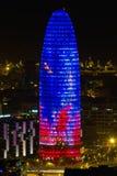 Tour d'Agbar, construction située à Barcelone Photos stock
