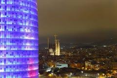 Tour d'Agbar et cathédrale de Sagrada Familia, Barcelone, Espagne Photo libre de droits