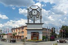 Tour d'horloge à la place centrale de la ville de Strumica, république de Macédoine Photographie stock