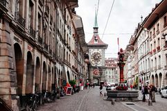 Tour d'horloge astronomique de Zytglogge dans la vieille ville de Berne, Switzerl image stock