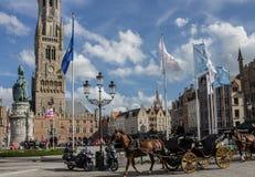 Tour d'horloge de beffroi de Bruges Belgique Image libre de droits